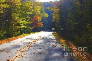 Click here for a larger image.  I couldn't resist the juxtaposition of the orange leaves and the blue shadows of this tunnel near Linville NC  Click here if you are interested in this painting.