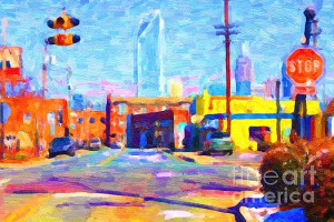 Click Here for Larger Image.  Phat Burrito is one of the most awesome restaurants in in Charlotte and in a hip part of town with a view of downtown.  If your interested in this painting click here.