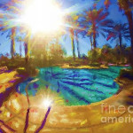 Click here for larger image.  There is something magical about still pool at sunrise or sunset.  I hope I caught a little of that here.  Click here if you are interested in this painting.